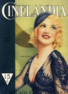 Vintage Movie Magazine  - cinelandia illustration, Ginger Rodgers