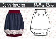Schnittmuster + Anleitung Ballonrock GR:34-44