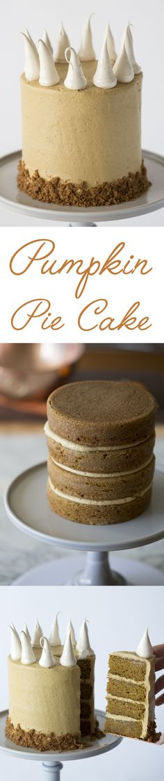 This cake is moist and pumpkiny, the buttercream has that special Fall spice mix, the meringue dollops on top have a hint of caramel and the graham cracker crust gives you that perfect crunch. Click over for the full recipe and give it a bake!