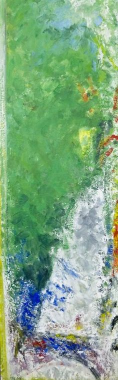 Lot 398- William Ivey (1919-1992 Washington) Untitled Green Abstract 1986 Oil on Canvas 71.5''x22'' Image. A colorful abstract expressionist work by Ivey. Signed and dated l.l. Some scattered craquelure. Total framed size 73.5''x24''.