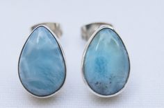 FREE SHIPPING On Original And Genuine Dominican AA Marbled Teardrop-Shaped Larimar Stones .925, Sterling Silver Post/Stud Earrings Jewelry by DominicanArts on Etsy