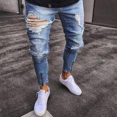 Men Straight Slim Pants Denim Hole Jeans Patchwork Pants Punk Ripped Skinny Trousers Leggings