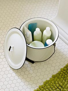 Could be cute for the guest bathroom; Savvy Storage: Metal pots and bowls hold toiletries. These clever storage solutions add country charm to the bathroom. Bathroom Storage, Small Bathroom, Modern Bathroom, Bathroom Ideas, Bathroom Stuff, Vintage Bathrooms, Design Bathroom, Bathroom Interior, Vintage Industrial