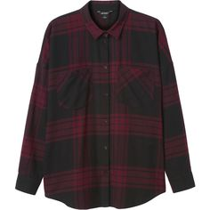 Monki Millie shirt ($27) ❤ liked on Polyvore featuring tops, shirts, flannels, long sleeves, plaid shirts, plaid flannel shirt, plaid top, tartan plaid shirt and monki