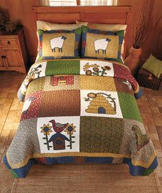 New Country Quilt Bedding Set Farm Collection Old Fashioned king 2 pc. Cute Quilts, Baby Quilts, Quilt Bedding, Bedding Sets, Bedding Decor, Primitive Quilts, Country Quilts, Ltd Commodities, Blanket Cover