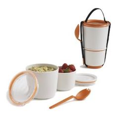 Orange lunch pot with spork designed by Black+Blum. The perfect size lunch box for adults or children. Microwave safe, BPA free and dishwasher safe. Essen To Go, Pots, Pot Sets, Bento Box, Kitchen Gadgets, Kitchen Stuff, Kitchen Things, Kitchen Ideas, Cool Gadgets