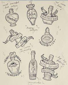Harry Potter Potions, Harry Potter Magic, Harry Potter Theme, Harry Potter Birthday, Harry Potter Characters, Bullet Journal Harry Potter, Bullet Journal Art, Harry Potter Drawings, Harry Potter Tattoos