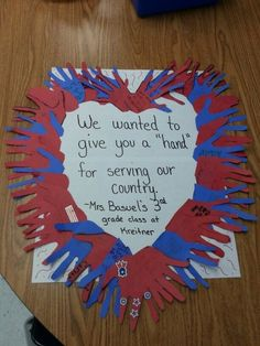 In honor of Veteran's Day, my class made this huge thank you note for our local American Legion. In honor of Veteran's Day, my class made this huge thank you note for our local American Legion. In honor of Veteran' Veterans Day 2018, Veterans Day Thank You, Veterans Day Gifts, Veterans Day For Kids, Veterans Day Celebration, Honor Veterans, Kids Crafts, Toddler Crafts, Preschool Activities