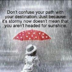 Jangan samakan antara Perjalanan dengan Tujuan.  Wlaupun ada badai dalam perjalanan, bukan berarti kita tidak menuju hari yang cerah