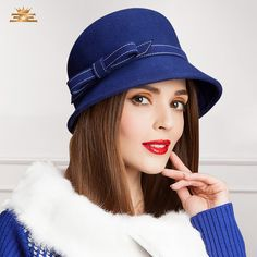 Cheap wool felt hat, Buy Quality womens fedora hats directly from China fedora hat Suppliers: Women Fedoras Hats Female Wedding Party Hats Winter Autumn Vintage Wool Felt Hat for Women Cloche Bucket Church Hats Fancy Hats, Cute Hats, Fedora Hat Women, Summer Hats For Women, Stylish Hats, Church Hats, Hat Shop, Felt Hat, Wool Felt