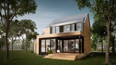 Fora | Plan de maison en ligne | TALO Plans Container Home Designs, Modern House Plans, Modern House Design, Plan Chalet, Garage House Plans, Shed Homes, Dream House Exterior, Scandinavian Home, Cozy House