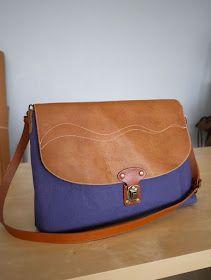 artchala handmade: Simple Wave Waxed Canvas Crossbody Messenger Bag - SOLD