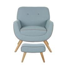 Skandi Duck Egg Armchair and Footstool Wooden Armchair, Blue Armchair, Bedroom Armchair, Conservatory Decor, Cane Back Chairs, Cheap Chairs, Office Seating, Office Chairs, Upholstered Arm Chair