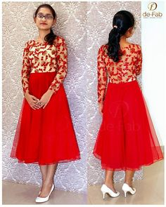 Umbrella cut Red net frock with embroidered and sequin worked net yoke.