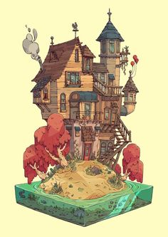 This reminds me a bit of the Burrow :D Dream House, Tom Robinson Art And Illustration, Illustrations, Fantasy Kunst, Fantasy Art, Art Isométrique, Pixel Art, Isometric Art, Animation, Environment Design