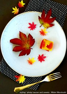 和菓子【山もみじYama-Momiji〜外郎 Uirou】 There are many bright colors in the scenery of nature. Colorful leaves are dancing in autumn wind. I cooked this cake not to forget such a scenery. It is Japanese sweet which wrapped the bean jam flavored with Japanese citron in autumn colorful rice cake. Flavors of refreshing citron fit various drinks, liquor well.*styling / photo / sweets : Midori Morohoshi(http://ameblo.jp/greenonthetable/imagelist.html)