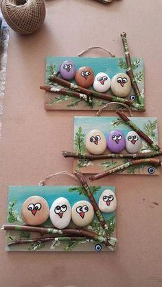 18 Creative Ideas for Painted Pebble and River Stone Crafts 18 kreative Ideen Kids Crafts, Creative Crafts, Diy And Crafts, Arts And Crafts, Creative Ideas For Art, Easy Crafts, Pebble Painting, Pebble Art, Stone Painting