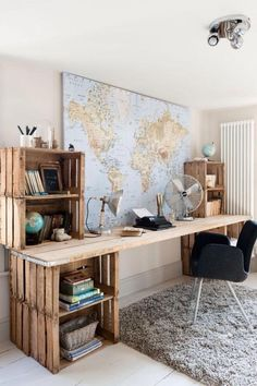 Cute DIY desk using old wooden pallets for storage, would be really easy to upcycle, and adds a something quirky with an industrial, vintage feel to this bedroom.