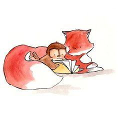A Fox and Owl Story 8x10 Nursery Art Illustration by ohhellodear, $20.00