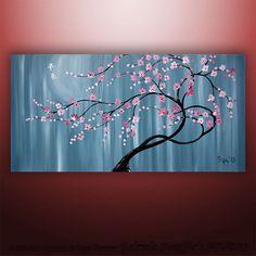Pintura Original arte paisaje árbol asiático flor Zen por Catalin