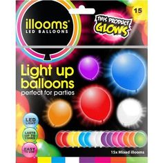 Illooms Light-Up Mixed Colors Balloons, 15 ct, Assorted Balloon Glow, Light Up Balloons, Balloons And More, Led Balloons, Balloon Lights, Balloon Arch, The Balloon, Glow Party Decorations, Wine Painting