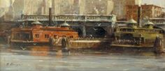 Nicholas Berger, West Shore Terminal, Study I, oil on panel, 5 X 11 inches Nantucket, Study, Oil, Sculpture, Gallery, Photography, Painting, Studio, Photograph