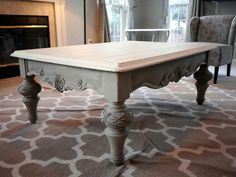 Found this lovely coffee table and refinished it in Annie Sloan chalk paint, French Linen and Old White. www.facebook.com/Refablished