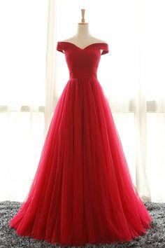 d066731c519 Robe de cérémonie rouge princesse élégante épaule dénudée