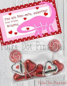 Dinosaur Valentines Goodie Bag Printable girl by PolkaDotPinwheel, $5.00