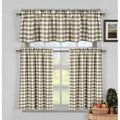 A checkered pattern available in select color options makes the Duck River Kingston Checks 3 Piece Kitchen Curtain Set a classic addition to your kitchen. Shabby Chic Kitchen Curtains, Kitchen Window Curtains, Kitchen Valances, Kitchen Curtain Sets, Window Valances, Tier Curtains, Cool Curtains, Panel Curtains, Curtain Panels