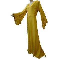 Incredible 1940s Vibrant Yellow Monastic-Style Crepe Gown