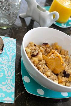 ::Baked Apple Oatmeal <<< I am a big believer in having oatmeal at least four times a week. There are endless benefits [ to name a few: it stabilizes blood sugar, promotes a healthy heart, enhances the sense of fullness & contains a lot of fiber ].::