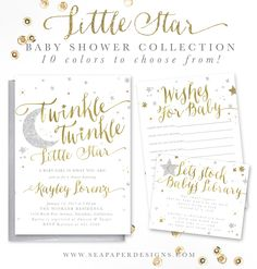 Twinkle Twinkle Little Star baby shower invitations and add-on items. Available in 10 colors. For a boy, girl or gender neutral. Perfect for a little star on the way!
