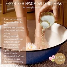 Remedies For Toenail Fungus Soothing Epsom Salt And ACV Foot Bath To Eliminate Foot Pain, Fungus And Odor - Juicing For Health Epsom Salt For Feet, Epsom Salt Foot Soak, Listerine Foot Soak, Salt Bath Benefits, Foot Detox Soak, Detox Foot Baths, Bath Detox, Foot Soak Recipe, Toenail Fungus Remedies