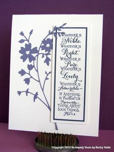 Whatsoever Things are Lovely    Stamps: ODBD  Paper: GKD  Ink: Versafine  Accessories: Memory Box Honeyblossom die