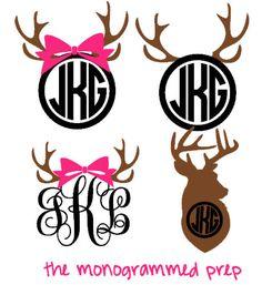Deer Monogram Decal Sticker by TheMonogrammedPrep on Etsy https://www.etsy.com/listing/194623555/deer-monogram-decal-sticker