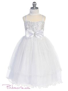 White Cute Sequenced Top with Puffy Tulle Skirt Flower Girl Dress