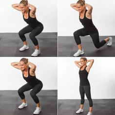 Stand with your feet hip-width apart, hands clasped behind your head. Push your hips back behind you and bend your knees to lower into a squ...