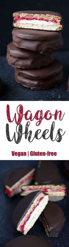 Vegan Gluten-free Wagon Wheels Wagon Wheels - another classic British treat I just had to recreate. Do you sense a theme here? It seems I'm drawn to making healthified, vegan and gluten-free versions (Healthy Vegan Sweets) Vegan Dessert Recipes, Gluten Free Desserts, Baking Recipes, Healthy Recipes, Dessert Healthy, Vegan Gluten Free Cookies, Fudge Recipes, Candy Recipes, Delicious Recipes