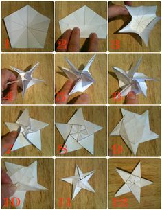 How to make a five point origami star using a pentagon Origami Instructions, Origami Tutorial, Origami Noel, Christmas Origami, Christmas Paper, Origami Paper, Christmas Crafts, Christmas Decorations, Christmas Ornaments