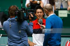Kei Nishikori of Japan after his match against Dustin Brown of Germany during day four of the Gerry Weber Open at Gerry Weber Stadium on June 18, 2015 in Halle, Germany.