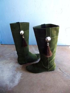 Vintage Suede Boots with Conchos and Horse by SouthwestVintage, $145.00