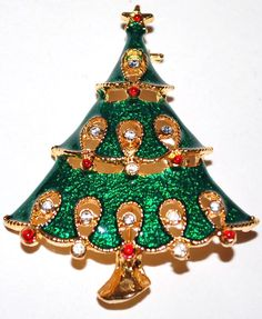 VTG Green Enamel & Rhinestone Christmas Tree Pin/Brooch from kitschandcouture on Ruby Lane Jeweled Christmas Trees, Xmas Tree, Christmas Time Is Here, Christmas Holidays, Christmas Nativity, Christmas Ornaments, Christmas Jewelry, Artisan Jewelry, Brooch Pin