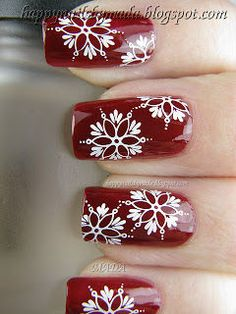 snowflakes with dark red