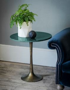 Green Marble Hotel Side Table Side Table at Rose and Grey