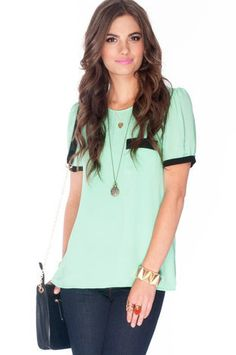 Over the Edge Chiffon Top in Mint Green