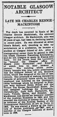 Obituary of Charles Rennie Mackintosh from Glasgow Herald 15th December 1928