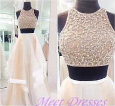 New Style Prom Dresses Sexy 2 Piece High Neck Tulle Skirts Paties Champagne Prom Dress - Thumbnail 1