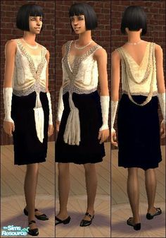 A glamorous 1920s-style dress with pearls, Mary Jane shoes, sheer seamed stockings, satin evening gloves, and Art Deco style embroidery.  Found in TSR Category 'Adult Female Everyday Clothing'
