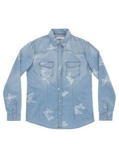 Printed denim light shirt #SUN68 #SS16 #woman #jeans #denim #shirt